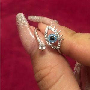 Silver Toned Evil Eye Ring